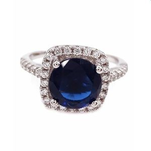 Savvy Cie Sapphire & Crystal Accent Cushion Ring